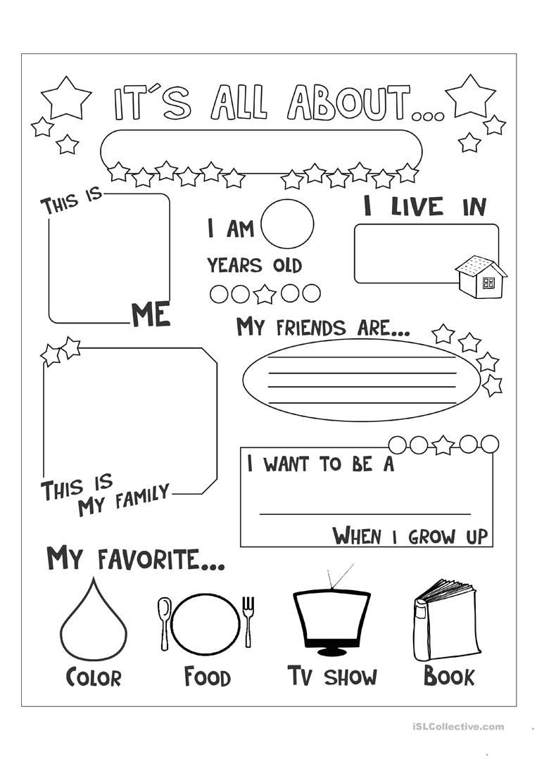 All About Me Worksheet - Free Esl Printable Worksheets Made - Free Printable English Lessons