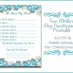 All About My Mom Questionnaire   Free Printable For Mother's Day   Free Printable Mother's Day Questionnaire