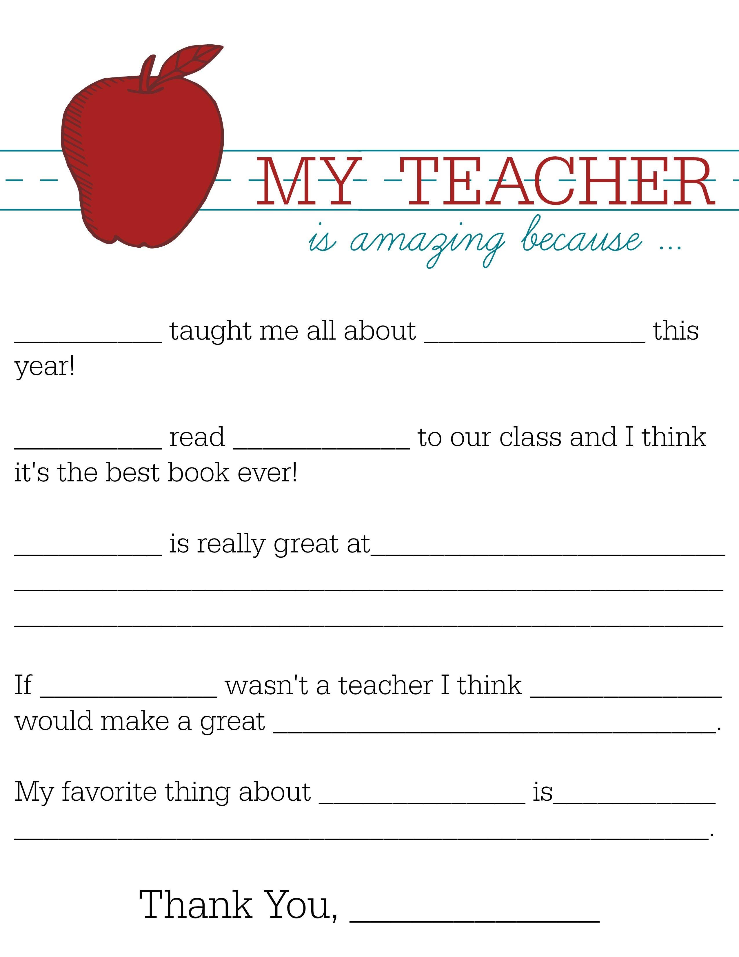 All About My Teacher | Parents: Raise A Reader Blog | Teacher - Free Printable Teacher Notes To Parents