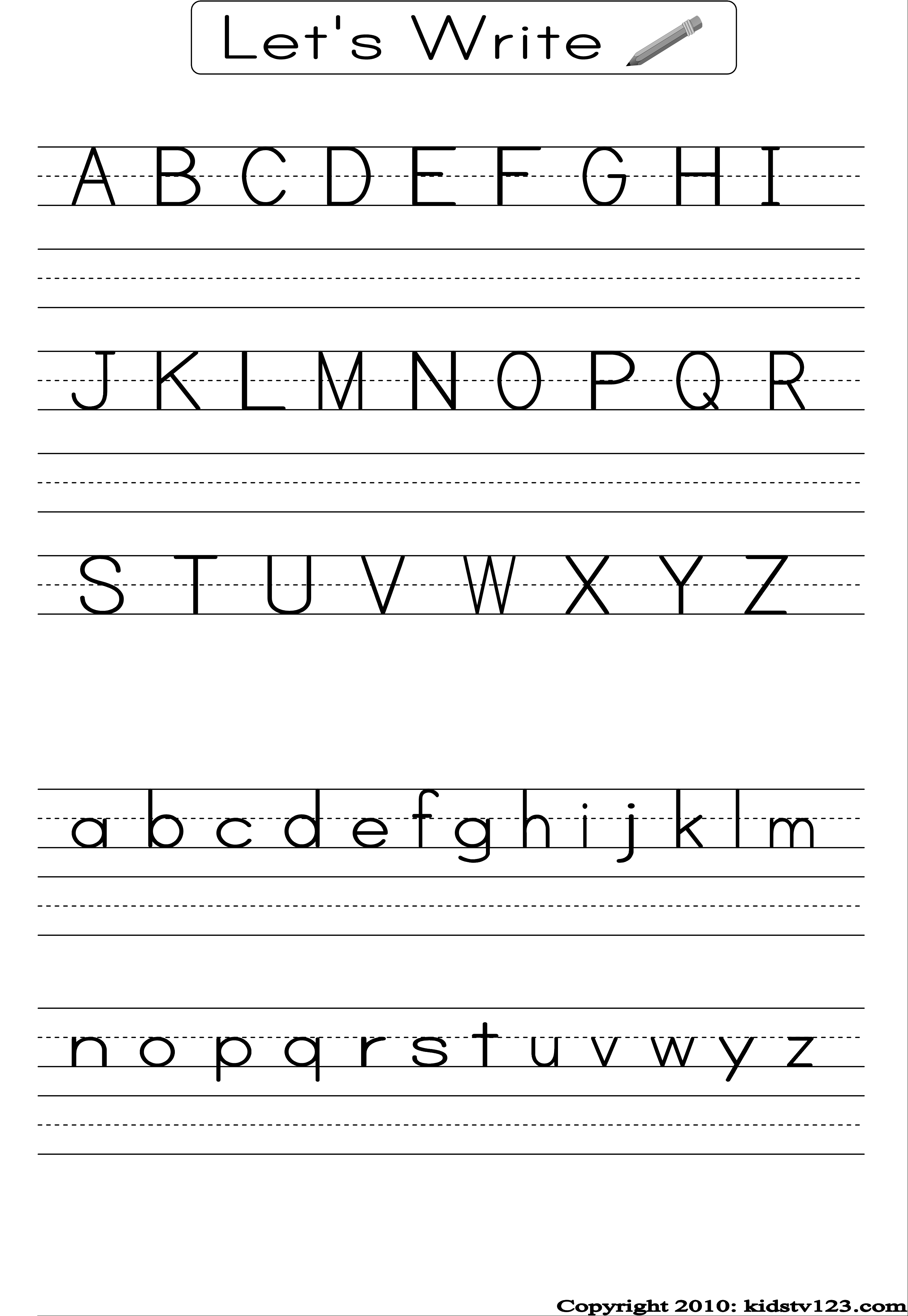Alphabet Writing Practice Sheet | Edu-Fun | Alphabet Worksheets - Free Printable Handwriting Sheets For Kindergarten