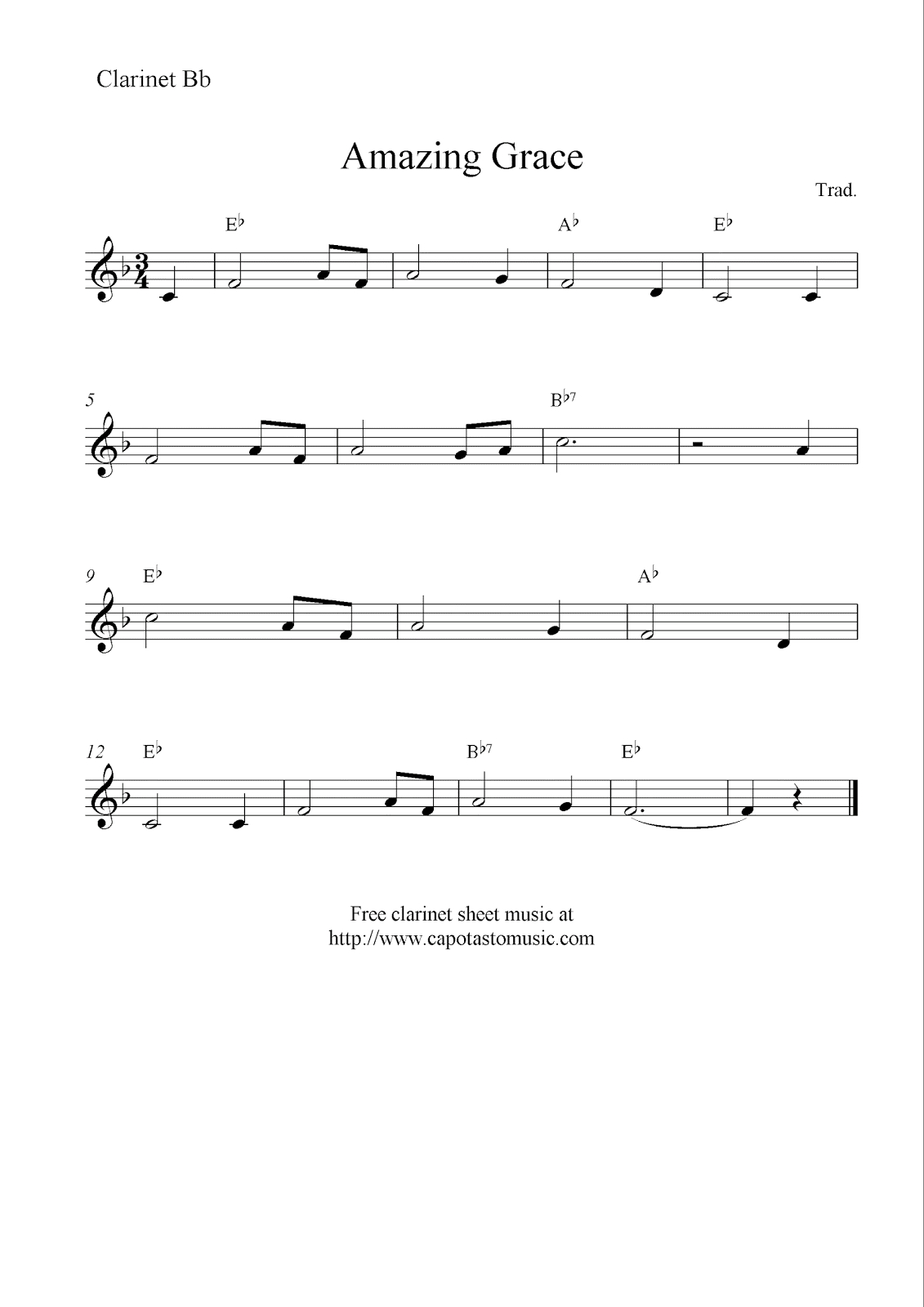 Amazing Grace, Free Clarinet Sheet Music Notes - Free Sheet Music For Clarinet Printable