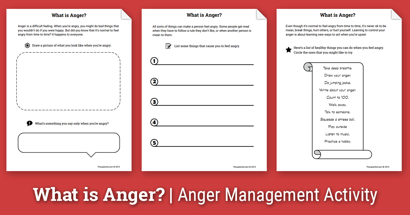 Anger Activity For Children: What Is Anger? (Worksheet) | Therapist Aid - Free Printable Anger Management Activities
