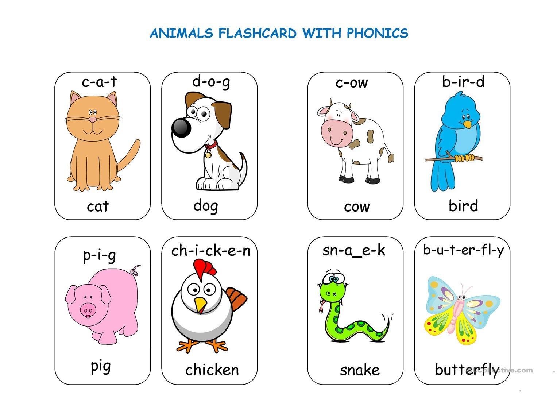 Animal Flashcards With Phonics Worksheet - Free Esl Printable - Free Printable Animal Cards