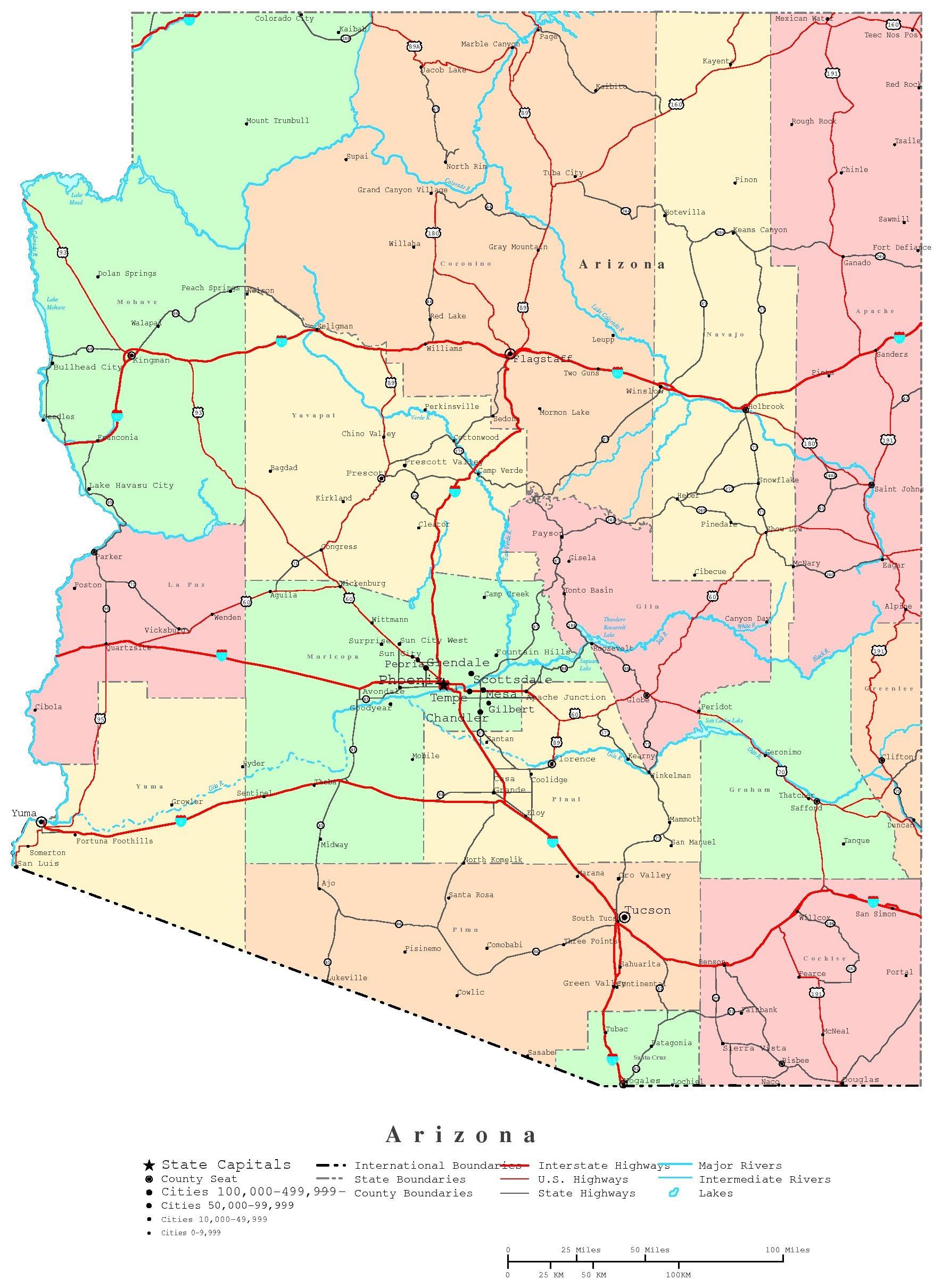 Arizona Printable Map - Free Printable Map Of Arizona