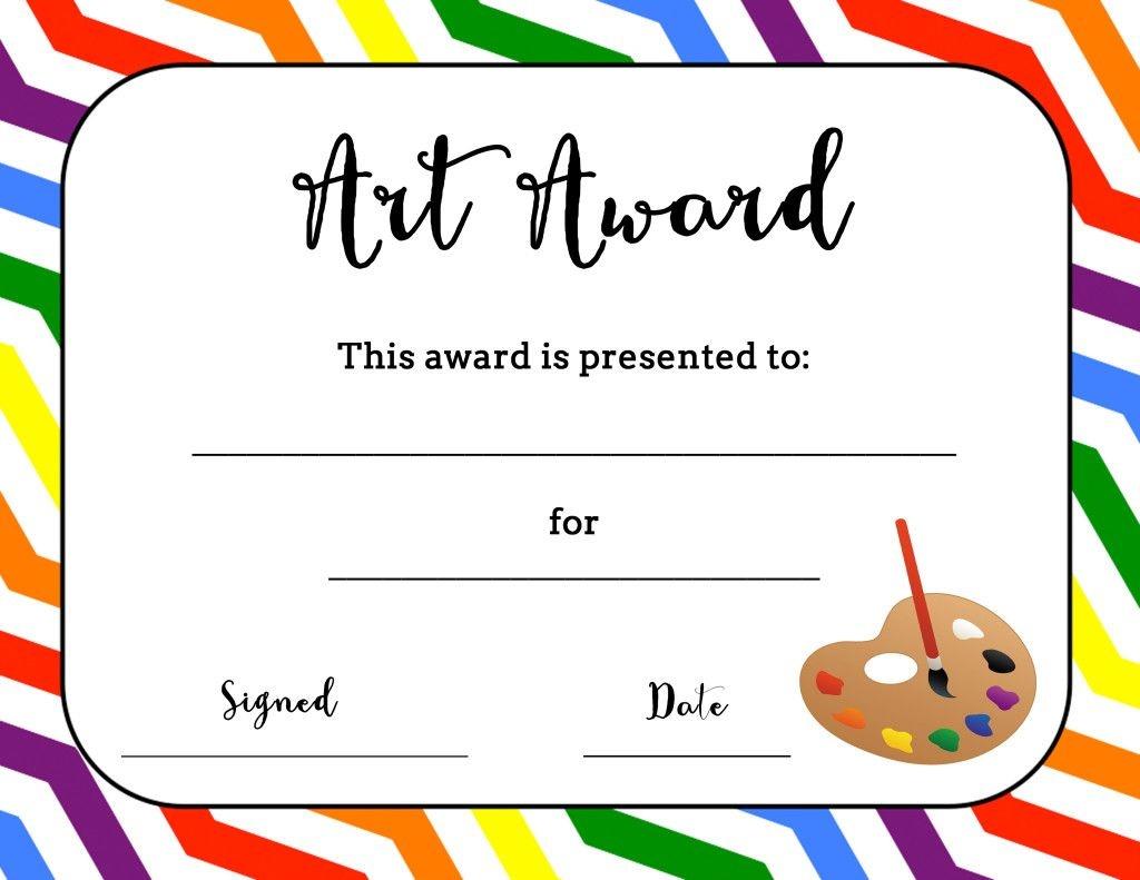 Art Award Certificate (Free Printable) | Art | Art Classroom - Free Printable Camp Certificates