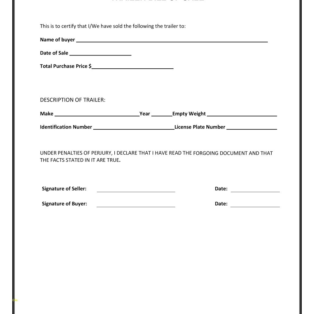 Auto Bill Of Sale Form – Bill Of Sale For A Vehicle Template - Free - Free Printable Bill Of Sale For Trailer