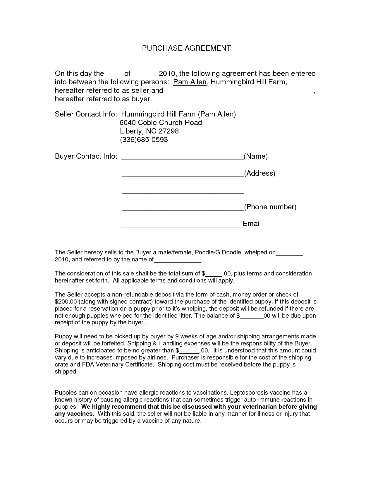 Auto Purchase Agreement Form - Docnyy13910 - Purchase Contract - Free Printable Purchase Agreement Template