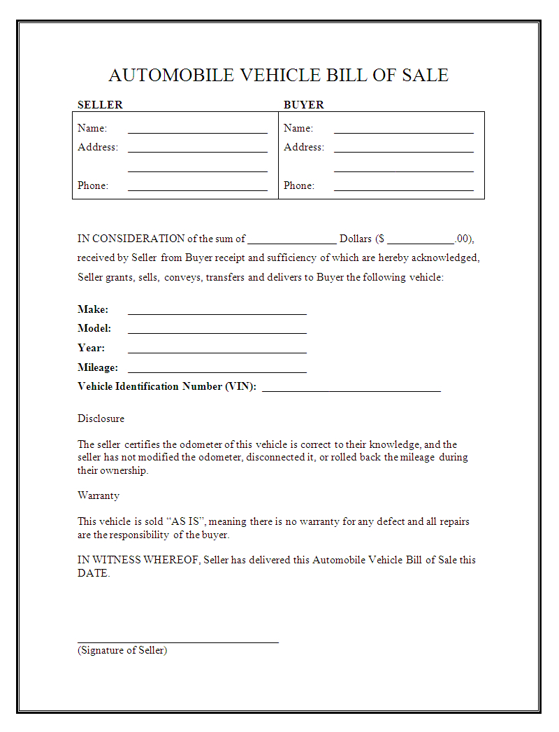 Automobile Bill Of Sale Form Free Printable - Demir.iso-Consulting.co - Free Printable Automobile Bill Of Sale Template