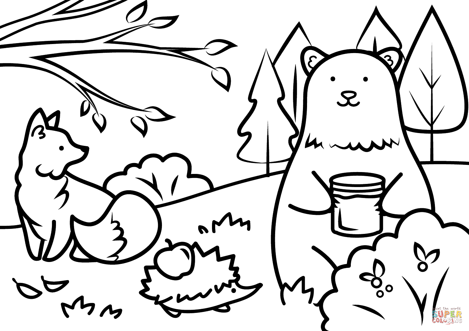 Autumn Animals Coloring Page | Free Printable Coloring Pages - Free Printable Coloring Pages Fall Season