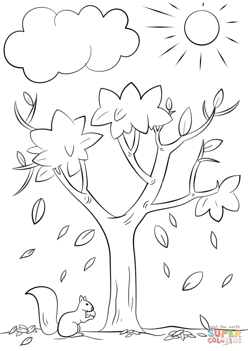 Autumn Tree Coloring Page | Free Printable Coloring Pages - Tree Coloring Pages Free Printable