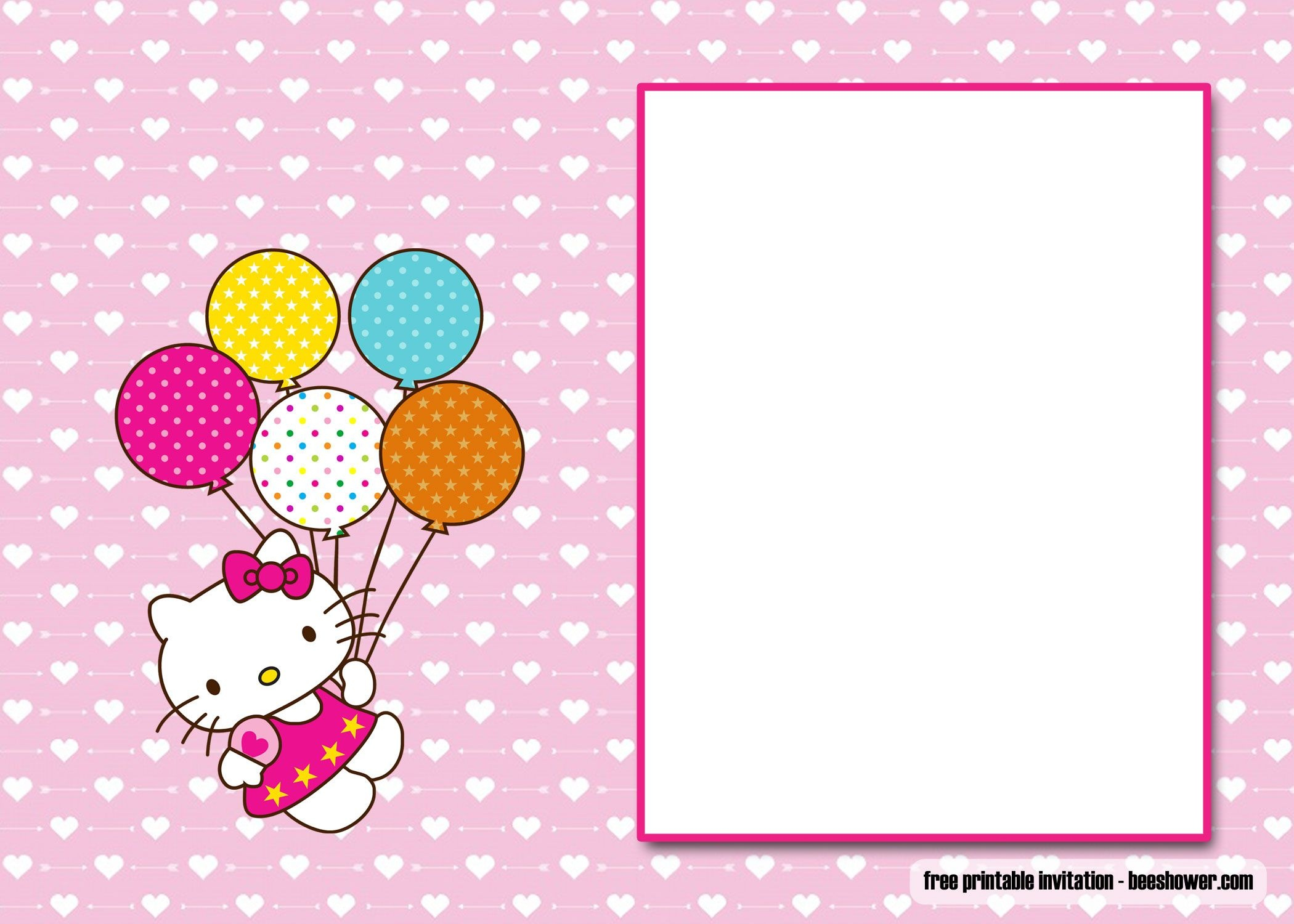 Awesome Free Perfect Hello Kitty Baby Shower Invitations   Beeshower - Free Printable Hello Kitty Baby Shower Invitations