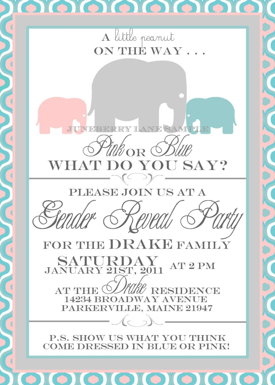 Baby Elephant Gender Reveal Invitation, Gender Reveal Invitation - Free Printable Gender Reveal Invitations
