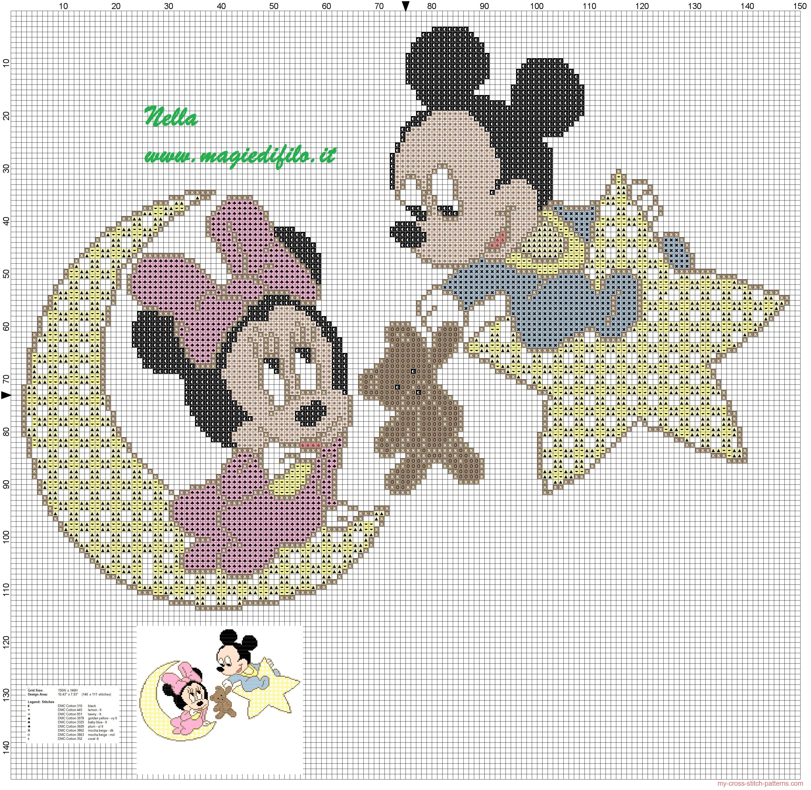 Baby Mickey And Minnie Mouse |  Cross Stitch Pattern Baby Minnie - Baby Cross Stitch Patterns Free Printable