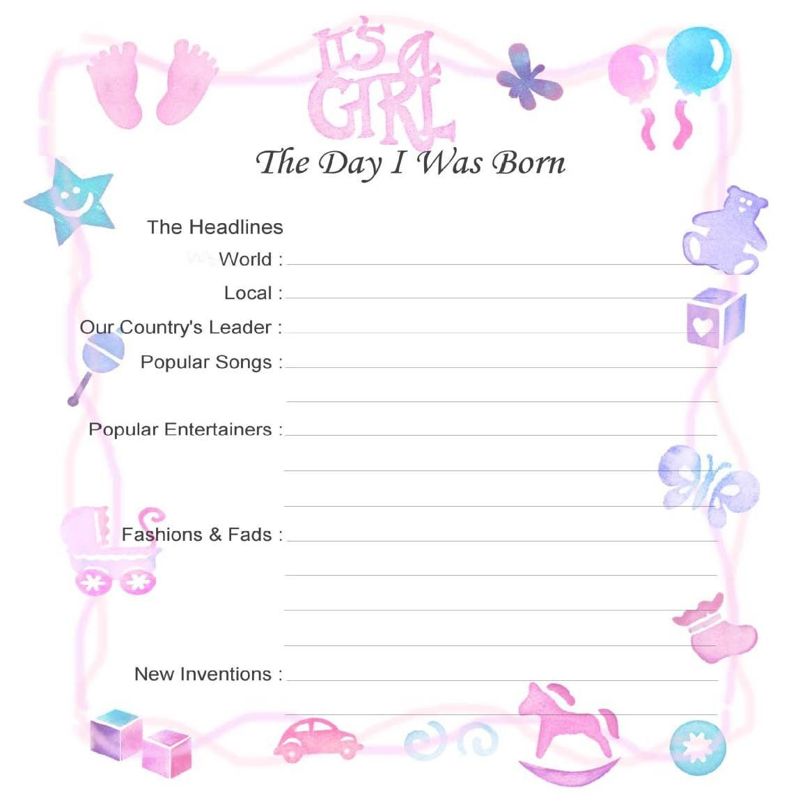 Baby Record Book Printable Pages - Google Search | Baby Book Layout - Free Printable Baby Scrapbook Pages