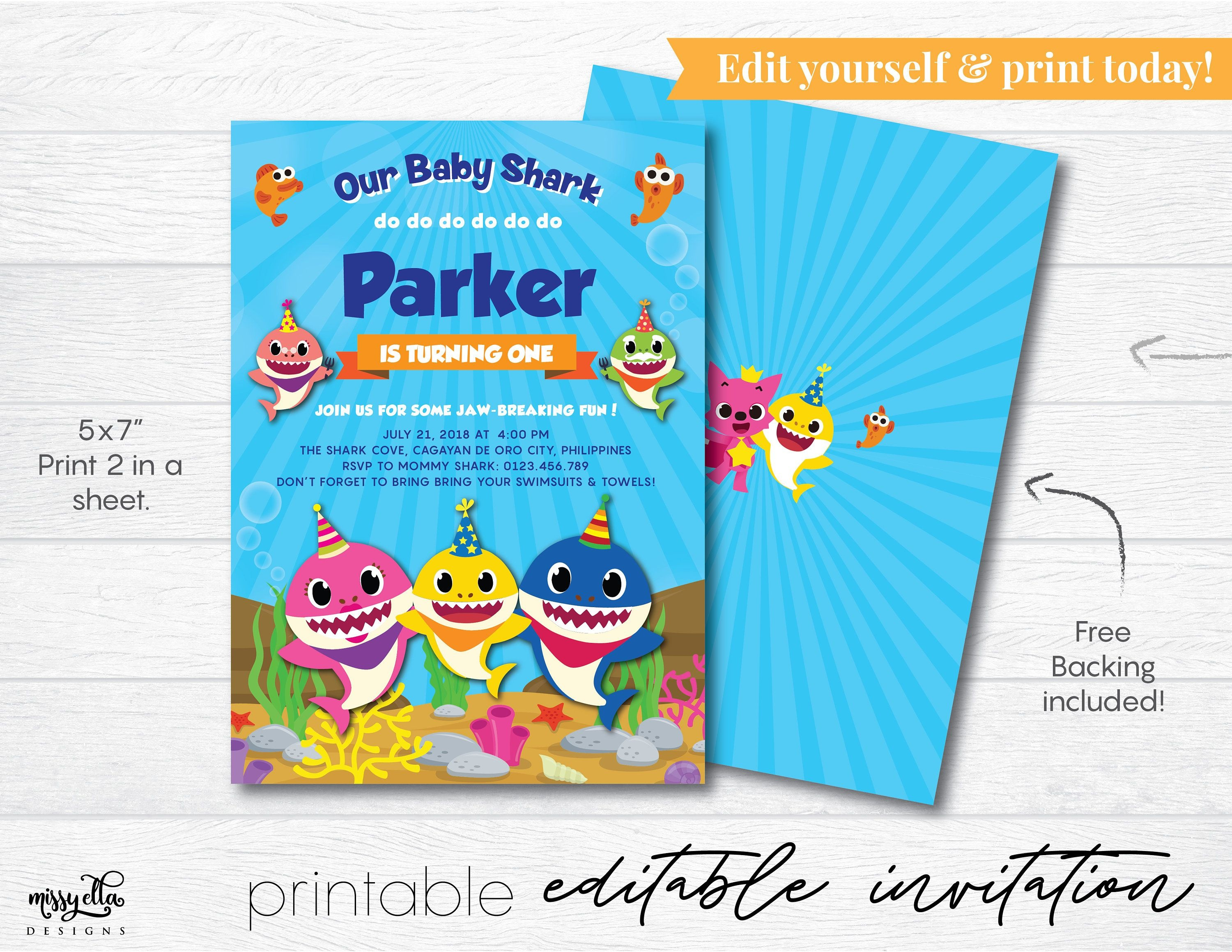 Baby Shark Invitation Editable Pdf, Digital Invitation, Baby Shark - Blue's Clues Invitations Free Printable