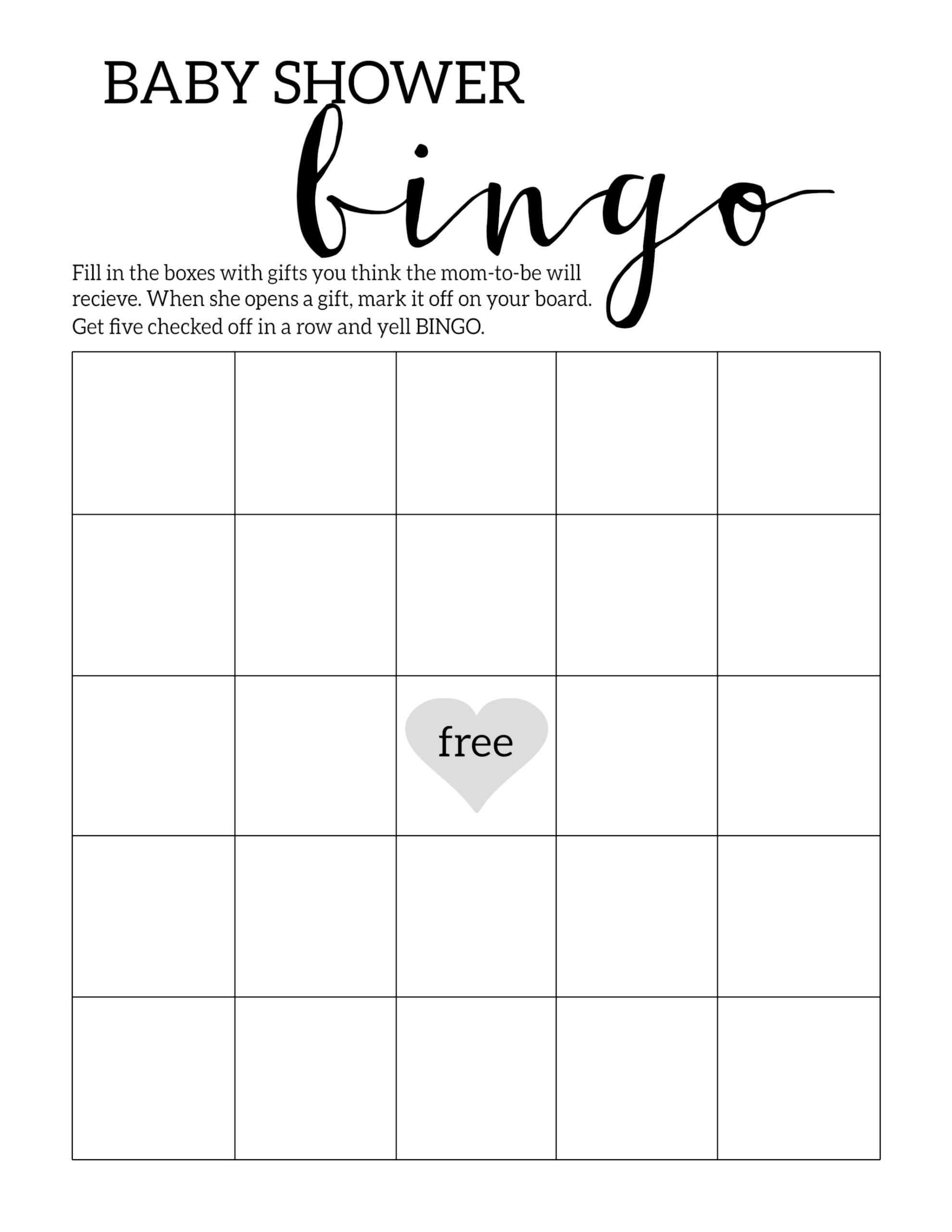Baby Shower Bingo Printable Cards Template - Paper Trail Design - Free Printable Blank Bingo Cards