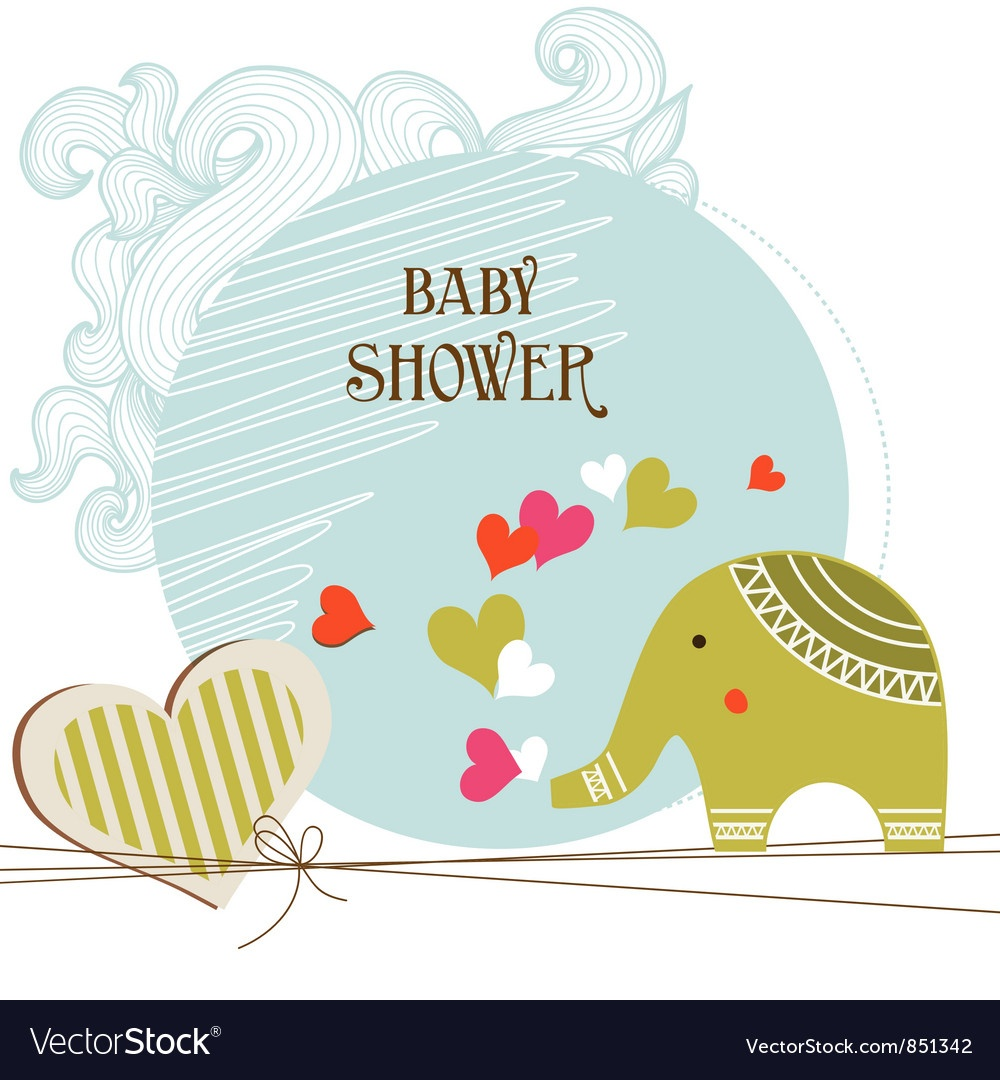 Baby Shower Card Template Royalty Free Vector Image - Free Printable Baby Shower Card