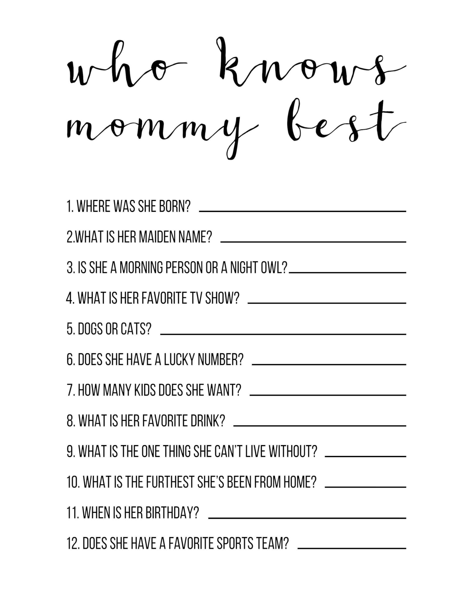 Baby Shower Games Free Printable {Who Knows Mommy Best} - Paper - Unique Baby Shower Games Free Printable