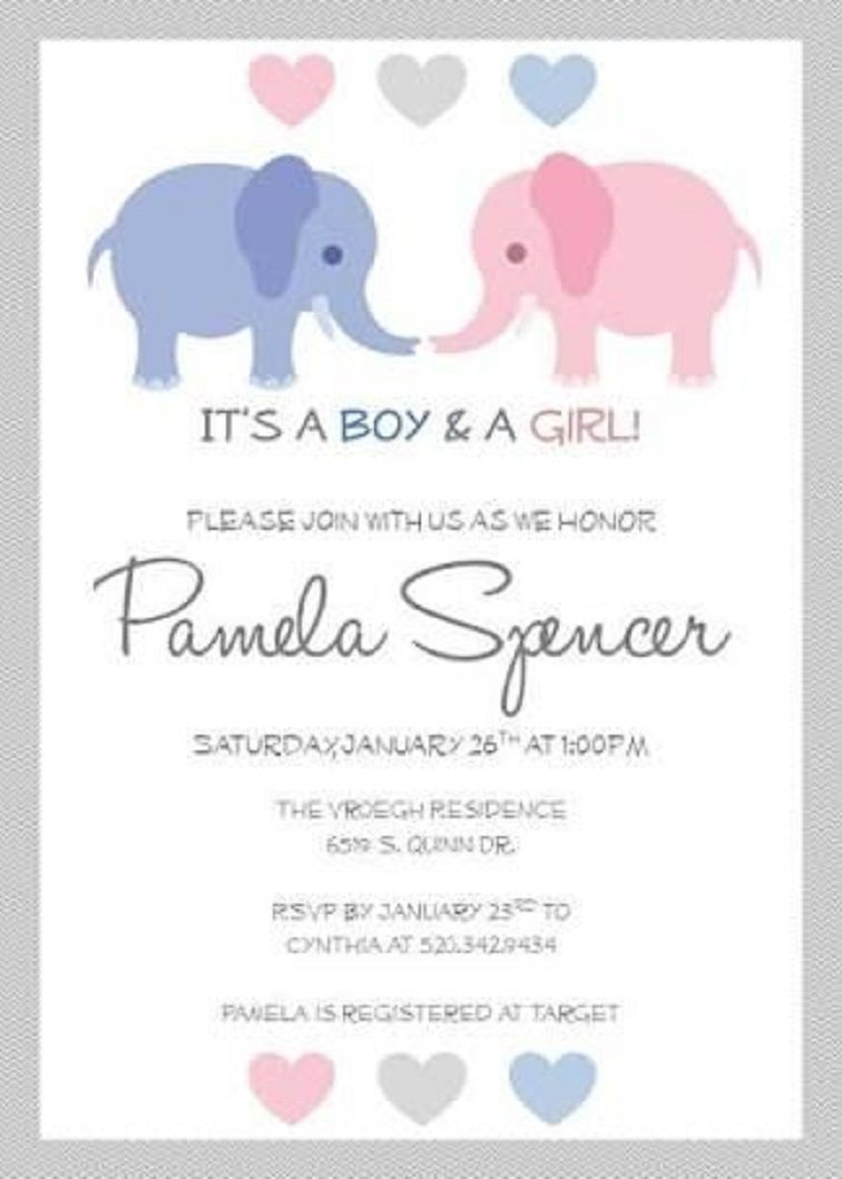 Baby Shower Invitations For Twins Free Printable | Party Invitation - Free Printable Elephant Baby Shower Invitations