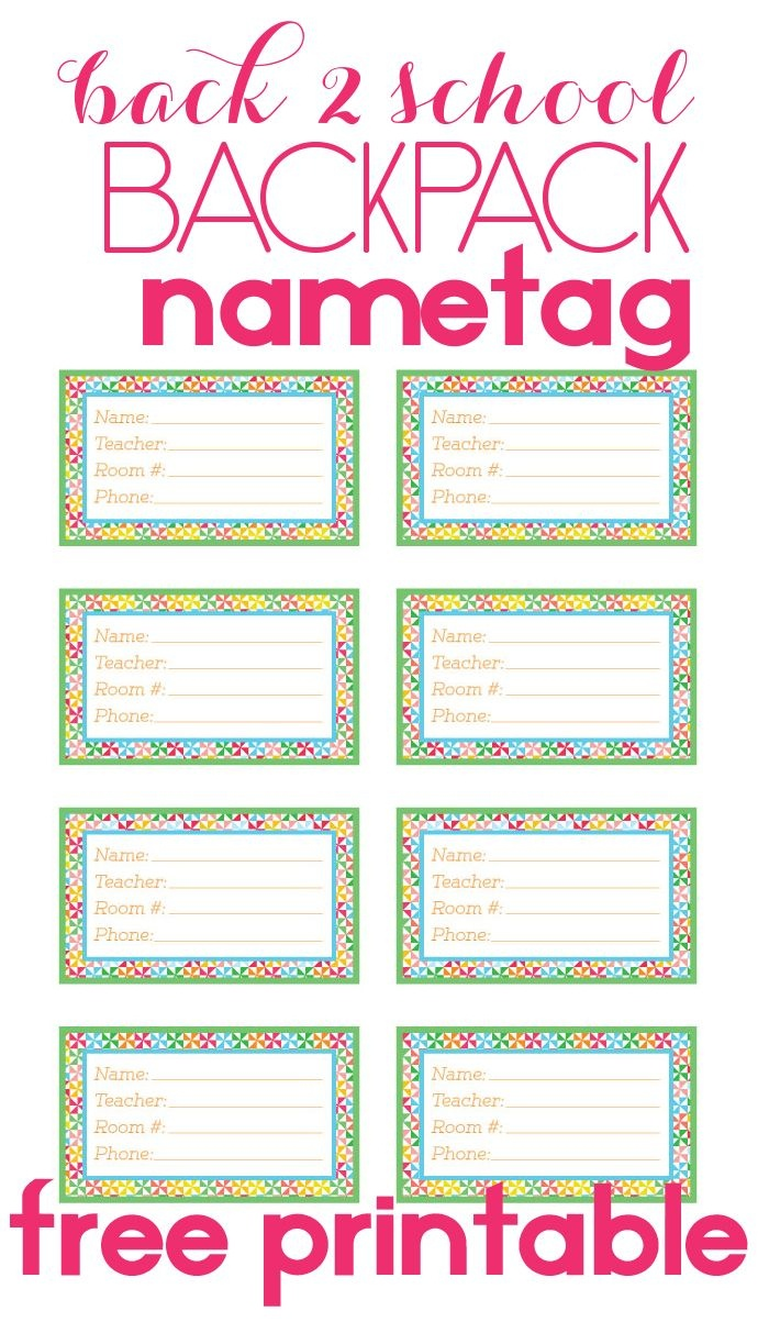 Back To School Backpack Name Tag | Diy Products | Name Tag For - Free Printable Name Tags For Teachers