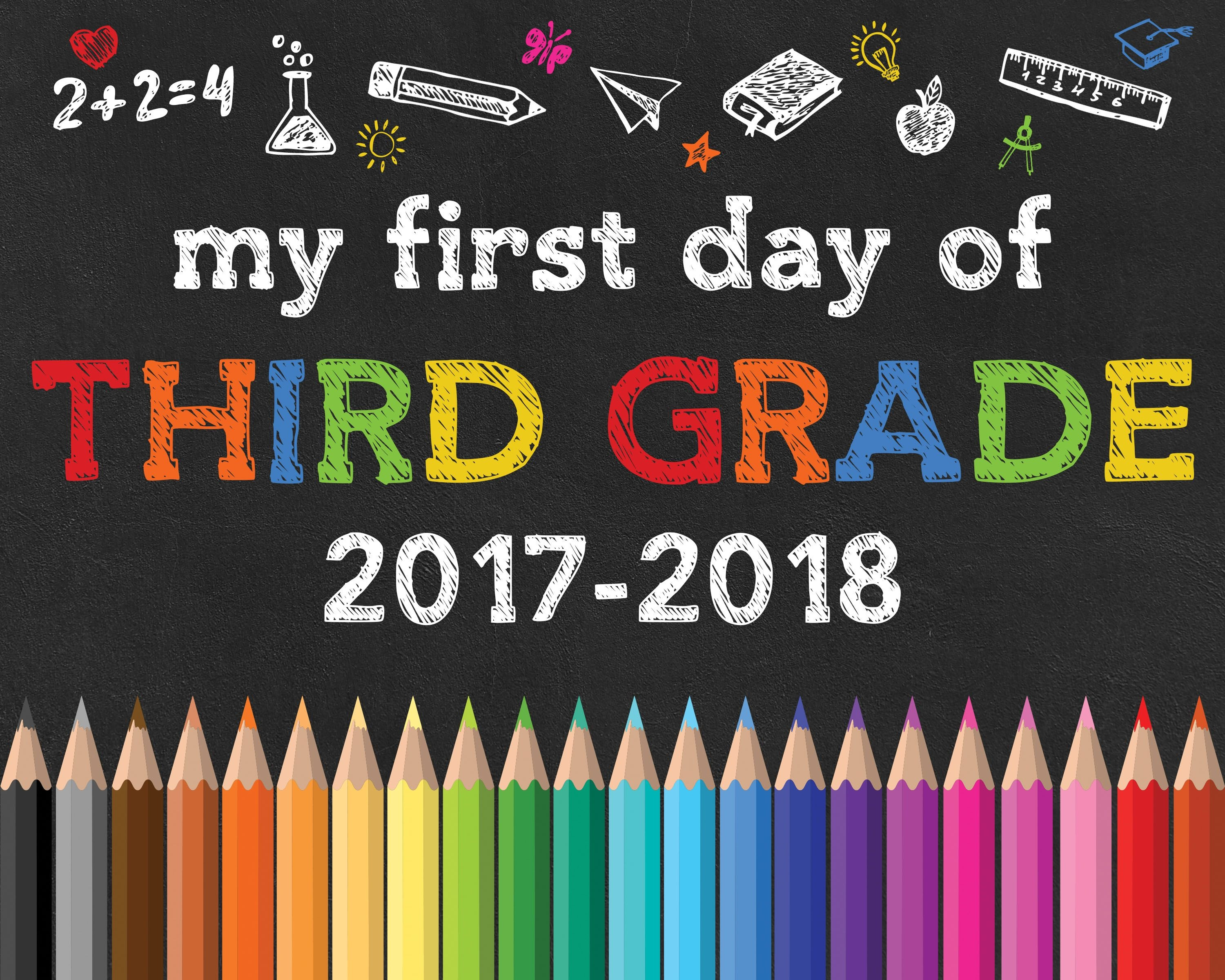 Back To School Free Printable Chalkboard Signs | Diy | School - First Day Of 3Rd Grade Free Printable