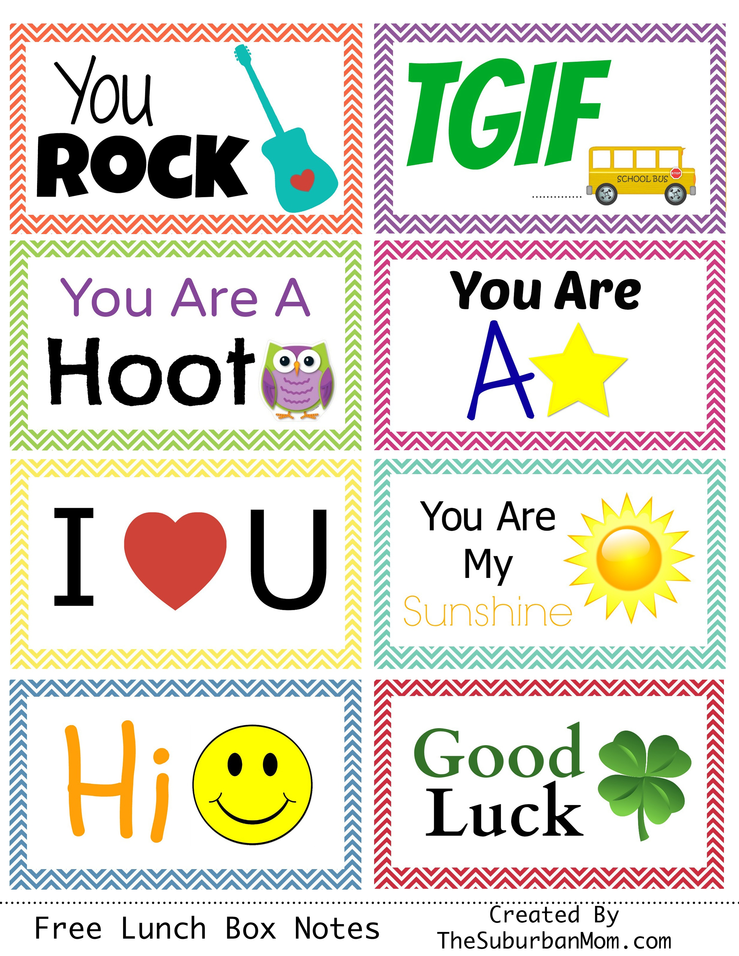 Back To School: Free Printable Lunch Box Notes - Thesuburbanmom - Free Printable School Notes