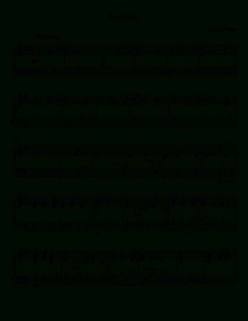Bad Day (Daniel Powter) (Piano Accompaniment) | Musescore | Piano 1 - Bad Day Piano Sheet Music Free Printable