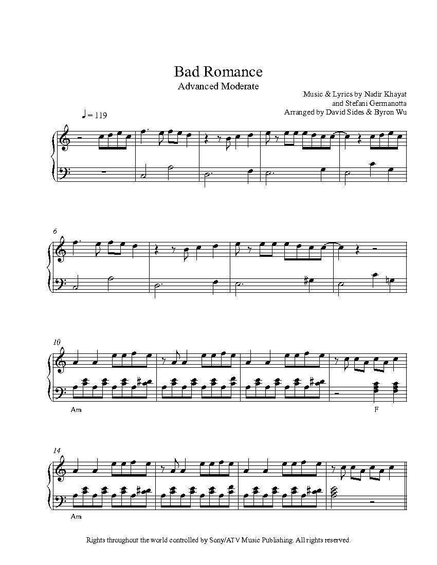 Bad Romancelady Gaga Piano Sheet Music | Advanced Level - Bad Day Piano Sheet Music Free Printable
