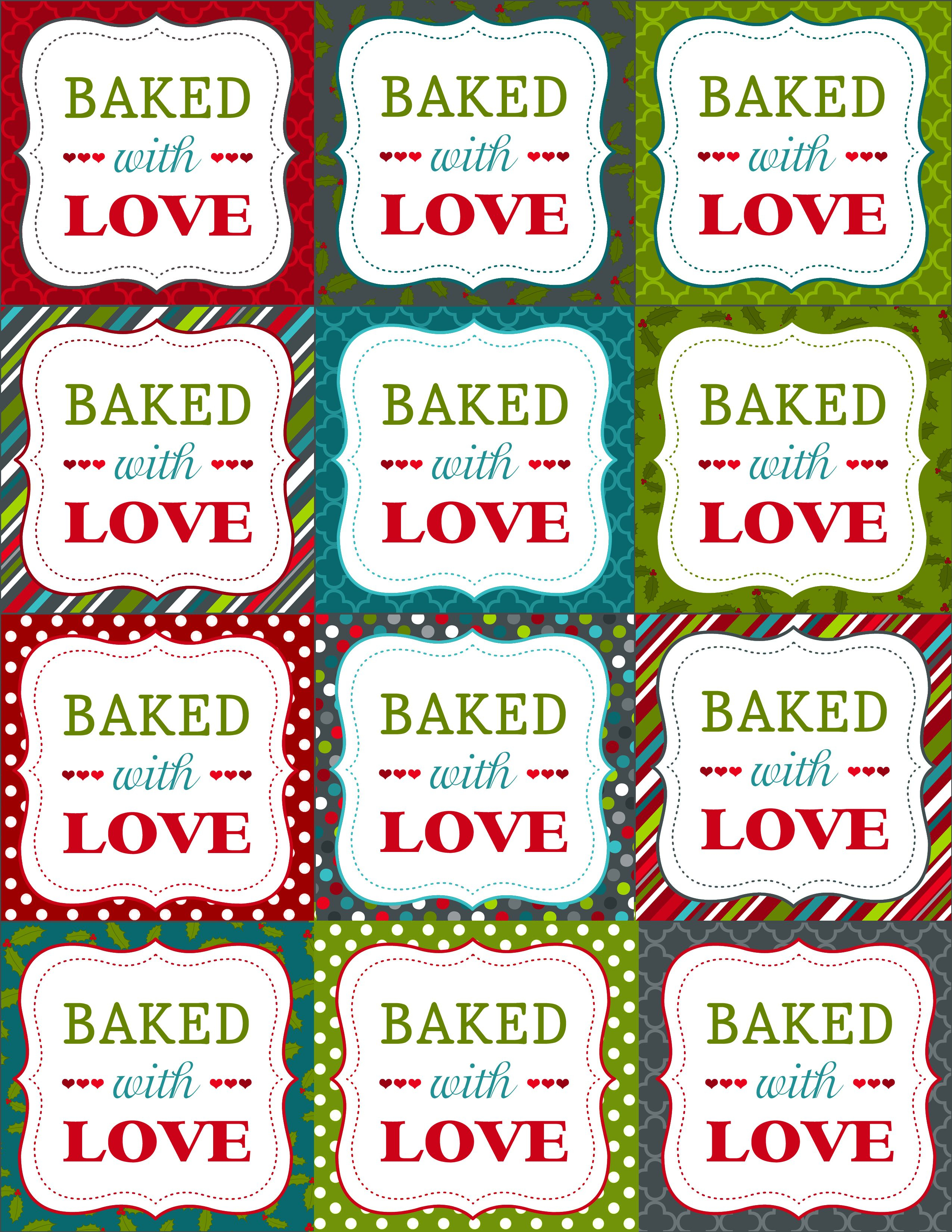 Baked With Love | Printable | Christmas Printables, Christmas Labels - Free Printable Baking Labels