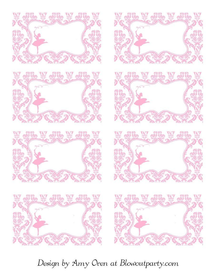 Ballerina Party Free Printable Nametags | Scribd | Ashlee's Baby - Free Printable Ballerina Birthday Invitations