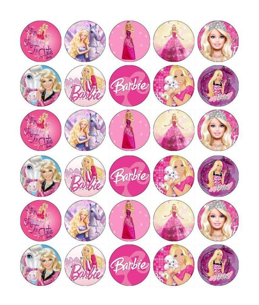 Barbie Cupcake Toppers Edible Paper Buy 2 Get 3Rd Free | Cute - Free Printable Barbie Cupcake Toppers