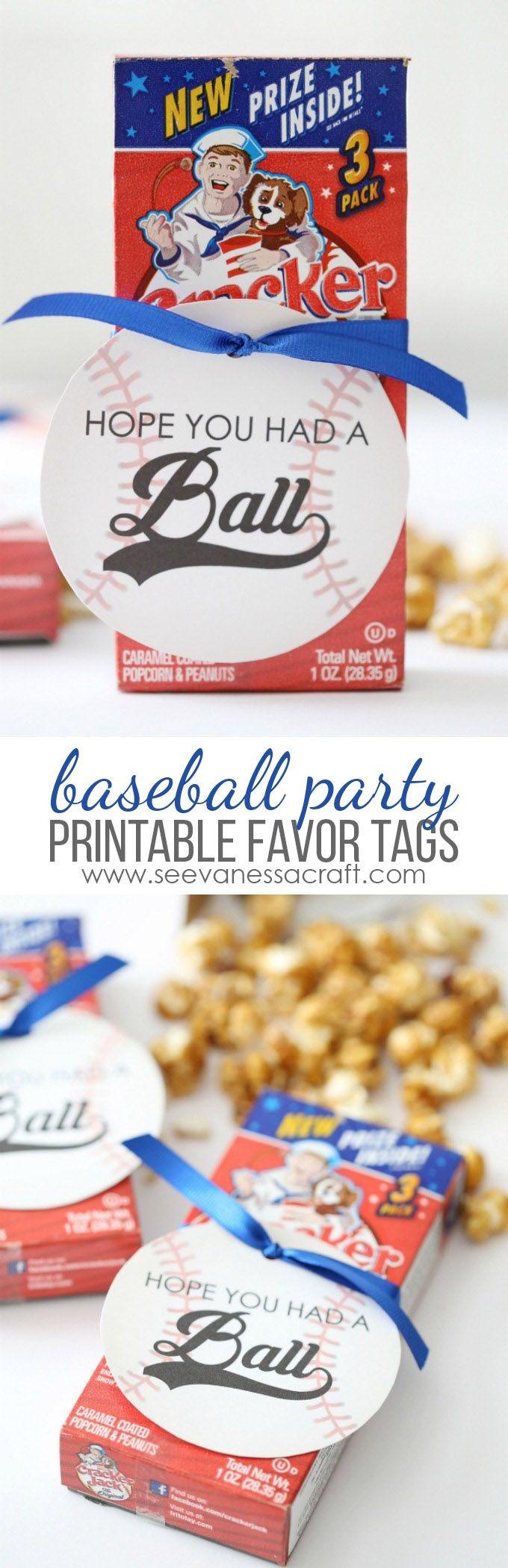Baseball Birthday Party Favor Tags | Printables | Baseball Party - Free Printable Baseball Favor Tags
