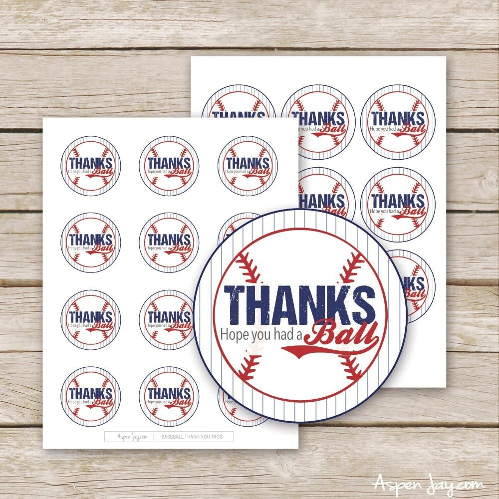 Baseball Thank You Tags In 2019 | Www.aspenjay | Baseball Party - Free Printable Baseball Favor Tags