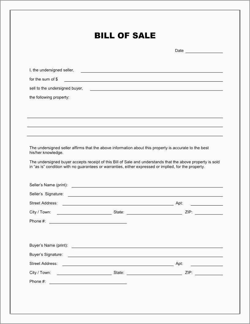 Beautiful Bill Of Sale Free Template Form | Best Of Template - Free Printable Generic Bill Of Sale