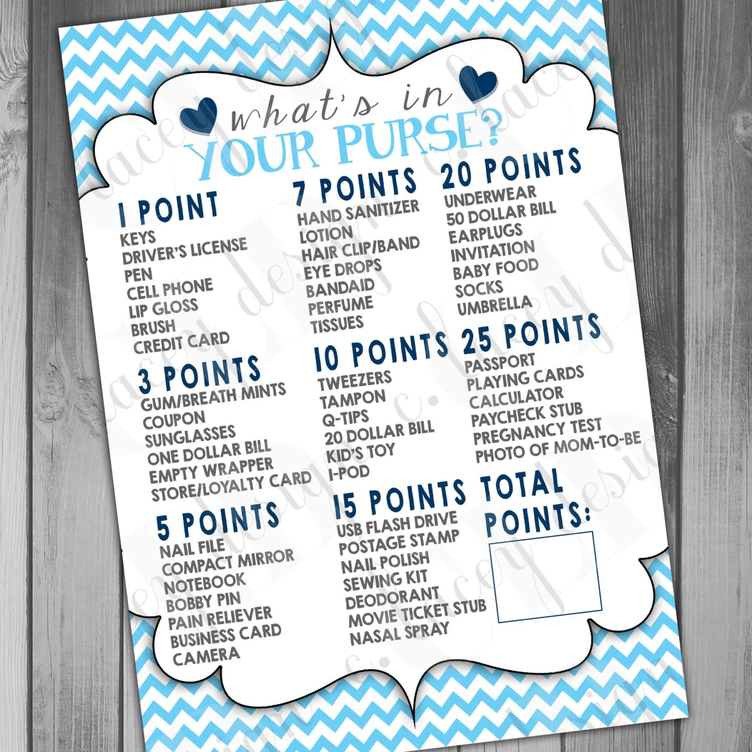 Beautiful Ideas Boy Baby Shower Games Printable Whats In Your Purse - Free Printable Baby Shower Game What's In Your Purse