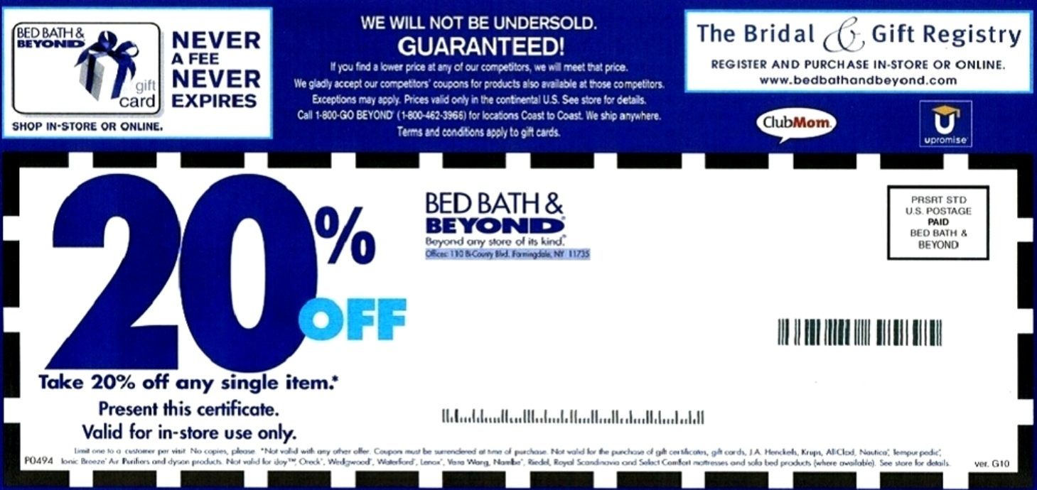 Bed Bath And Beyond Coupons - Free Printable Bed Bath And Beyond 20 Off Coupon