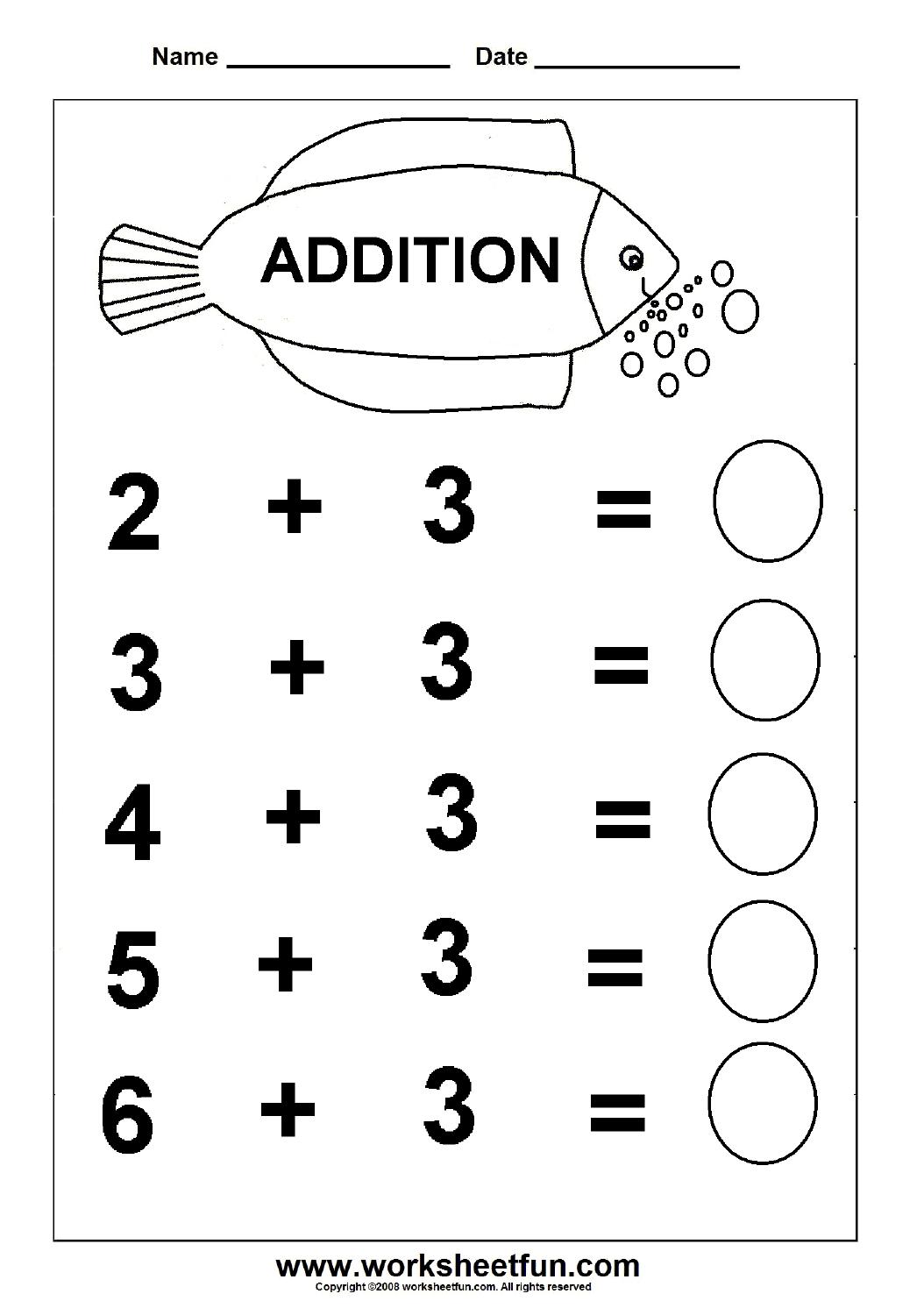 Beginner Addition – 6 Kindergarten Addition Worksheets / Free - Free Printable Simple Math Worksheets