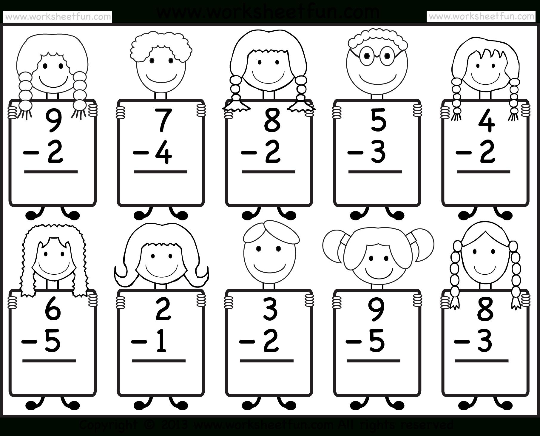 Beginner Subtraction – 10 Kindergarten Subtraction Worksheets / Free - Free Printable Worksheets For Kindergarten