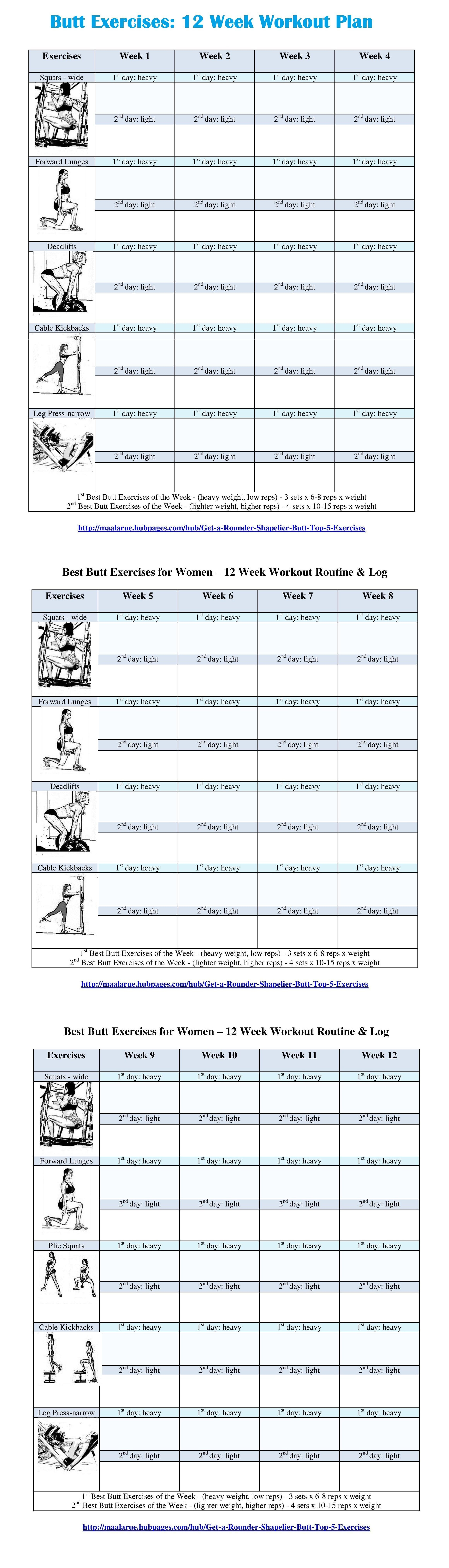 Best Butt Workouts For Women - Free Printable 12 Week Butt Workout Plan - Free Printable Gym Workout Plans