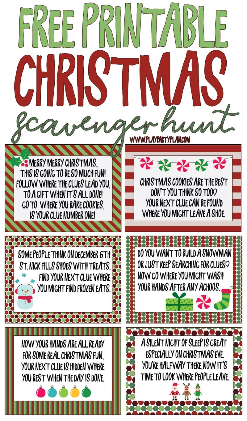 Best Ever Christmas Scavenger Hunt - Play Party Plan - Free Printable Christmas Riddle Games