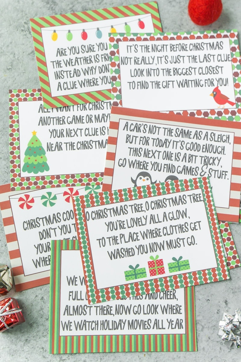 Best Ever Christmas Scavenger Hunt - Play Party Plan - Free Printable Christmas Treasure Hunt Clues