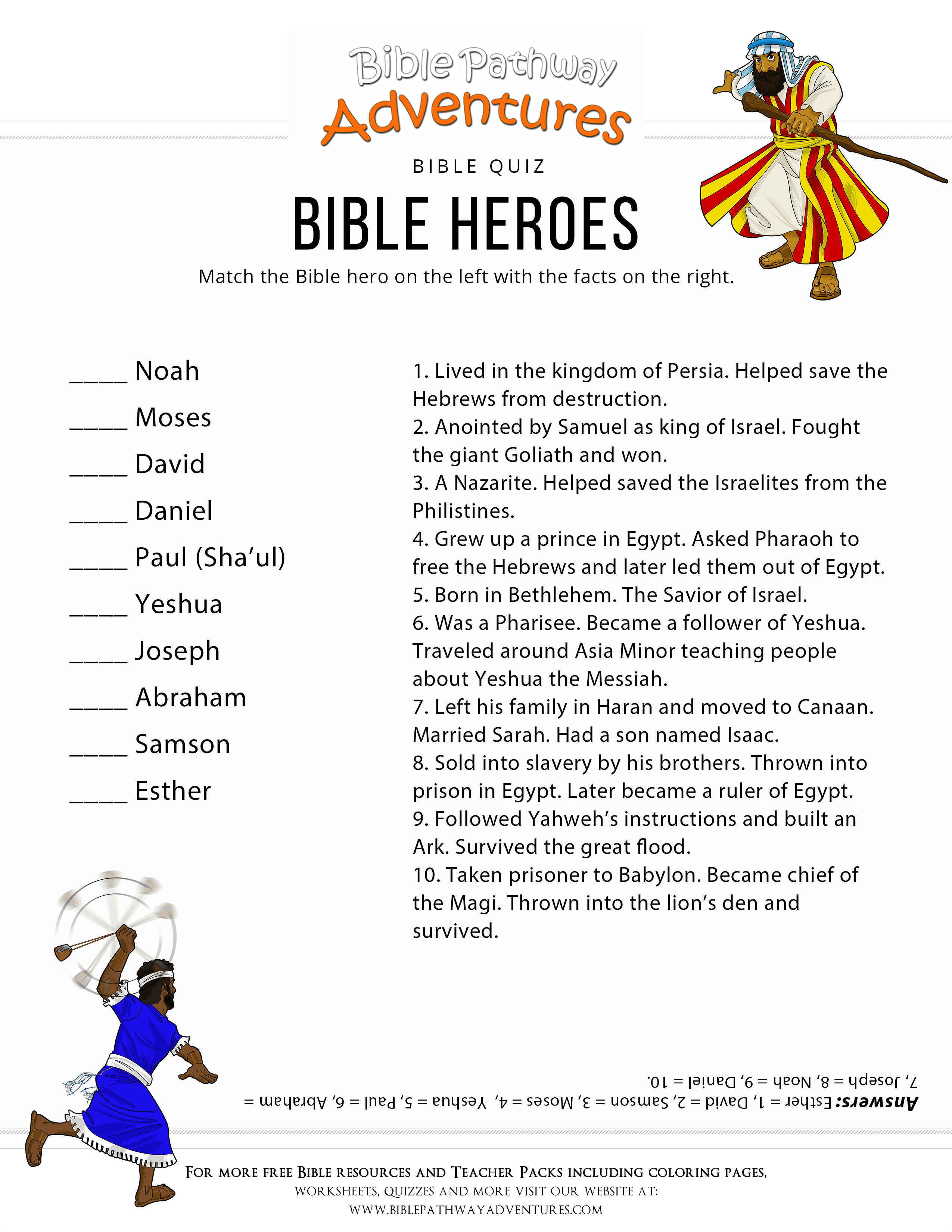 Bible Heroes Quiz – Bible Pathway Adventures - Free Printable Bible Trivia For Adults
