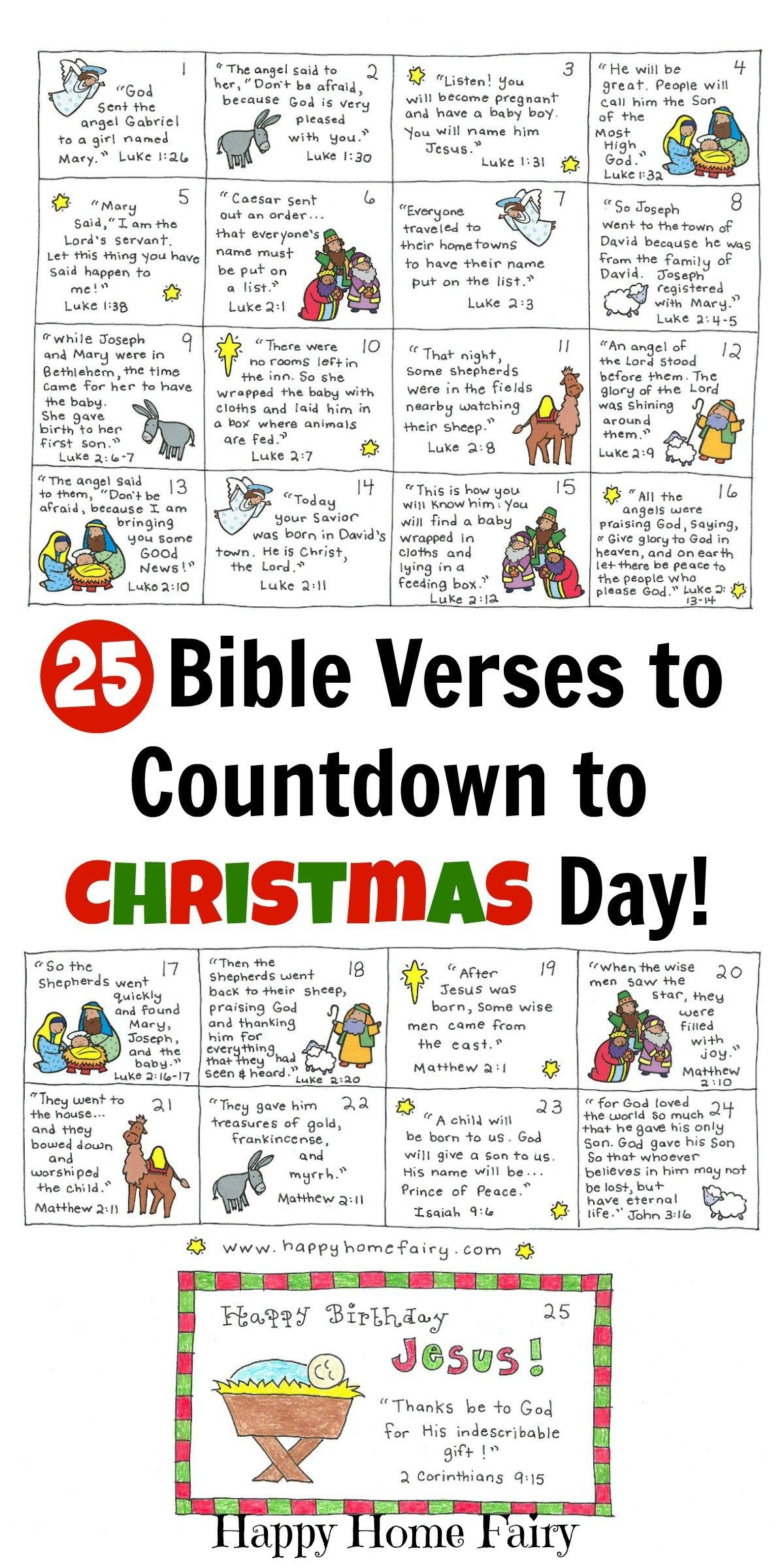Bible Verse Advent Countdown For Kids - Free Printable | Christmas - Free Printable Stories For Preschoolers