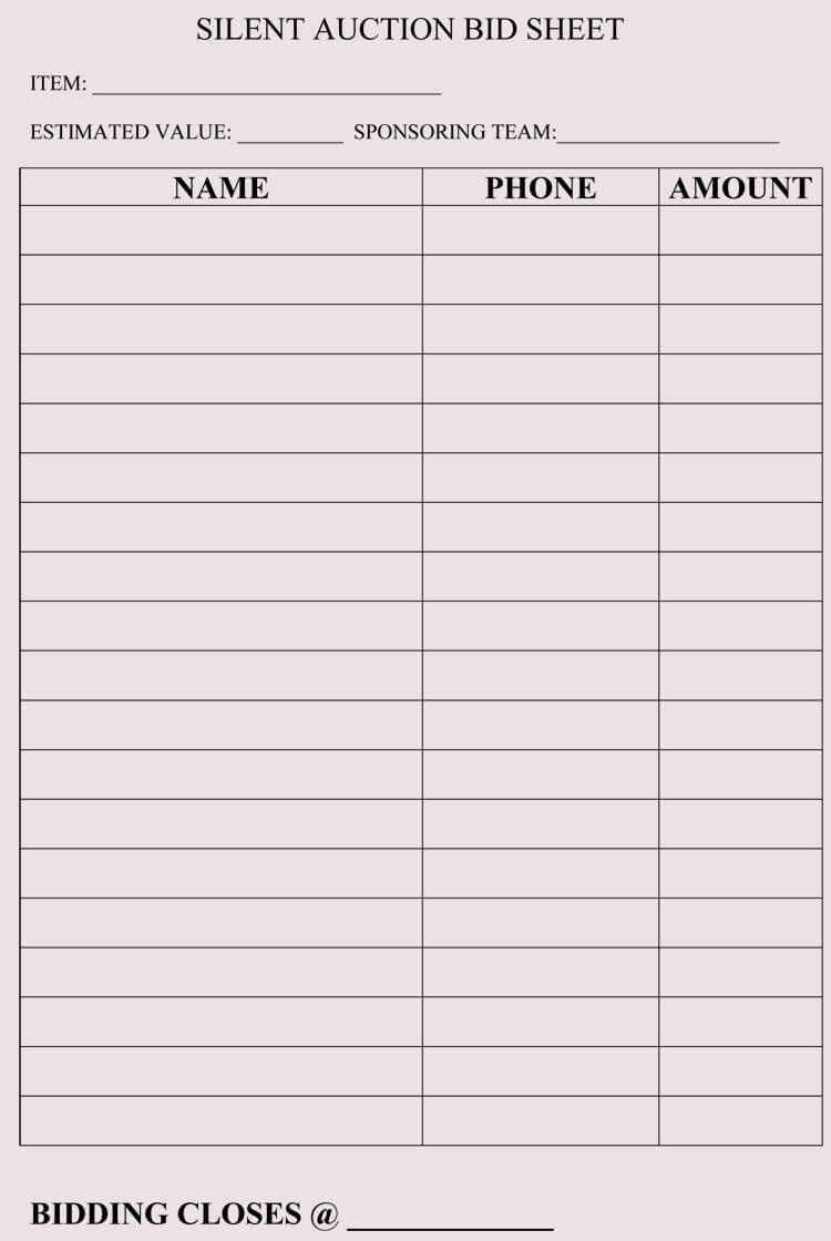 Bid Sheet Templates For Silent Auction (In Word, Excel, Pdf Format) - Free Printable Silent Auction Bid Sheets