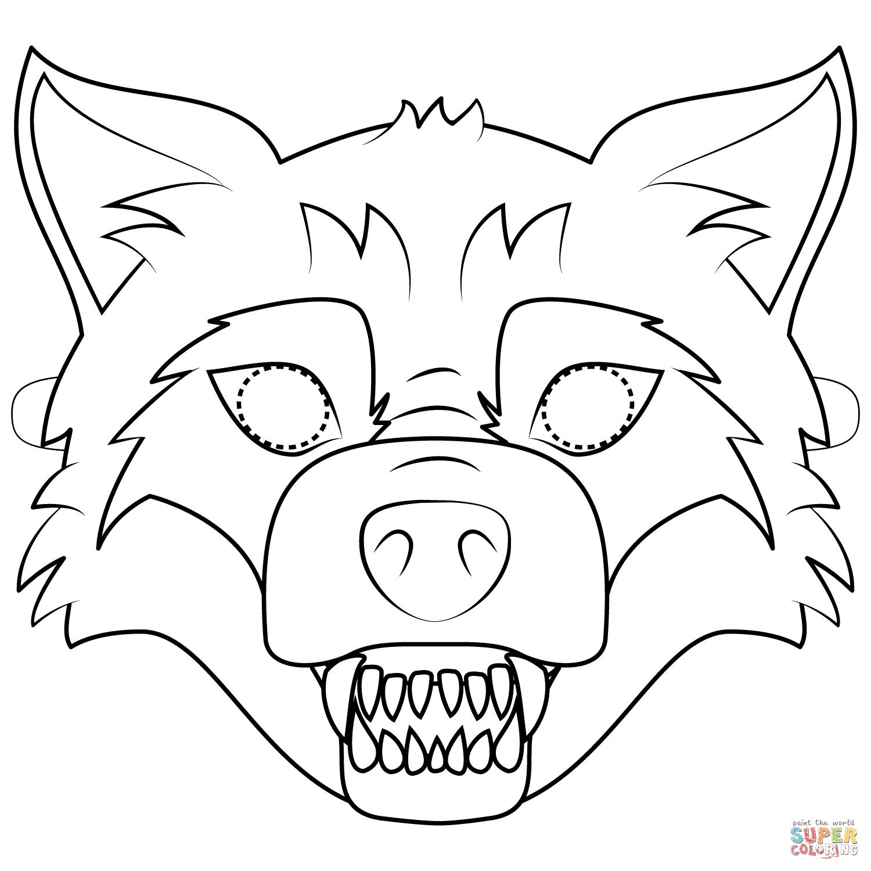 Big Bad Wolf Mask Coloring Page | Free Printable Coloring Pages - Free Printable Wolf Face Mask