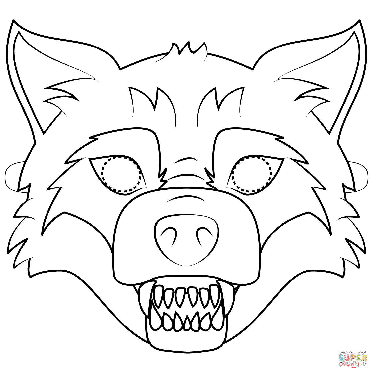 Big Bad Wolf Mask Coloring Page | Free Printable Coloring Pages - Free Printable Wolf Mask