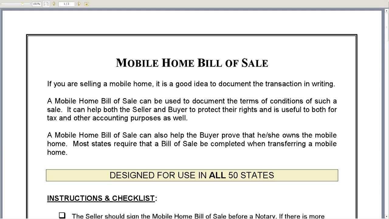 Bill Of Sale Mobile Home (17 Photos) - Bestofhouse | 23741 - Free Printable Bill Of Sale For Mobile Home
