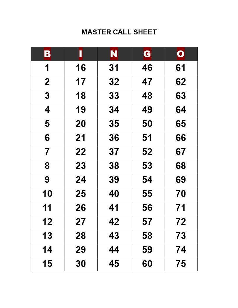 Bingo Call Sheet - How To Create A Bingo Call Sheet? Download This - Free Printable Bingo Cards And Call Sheet