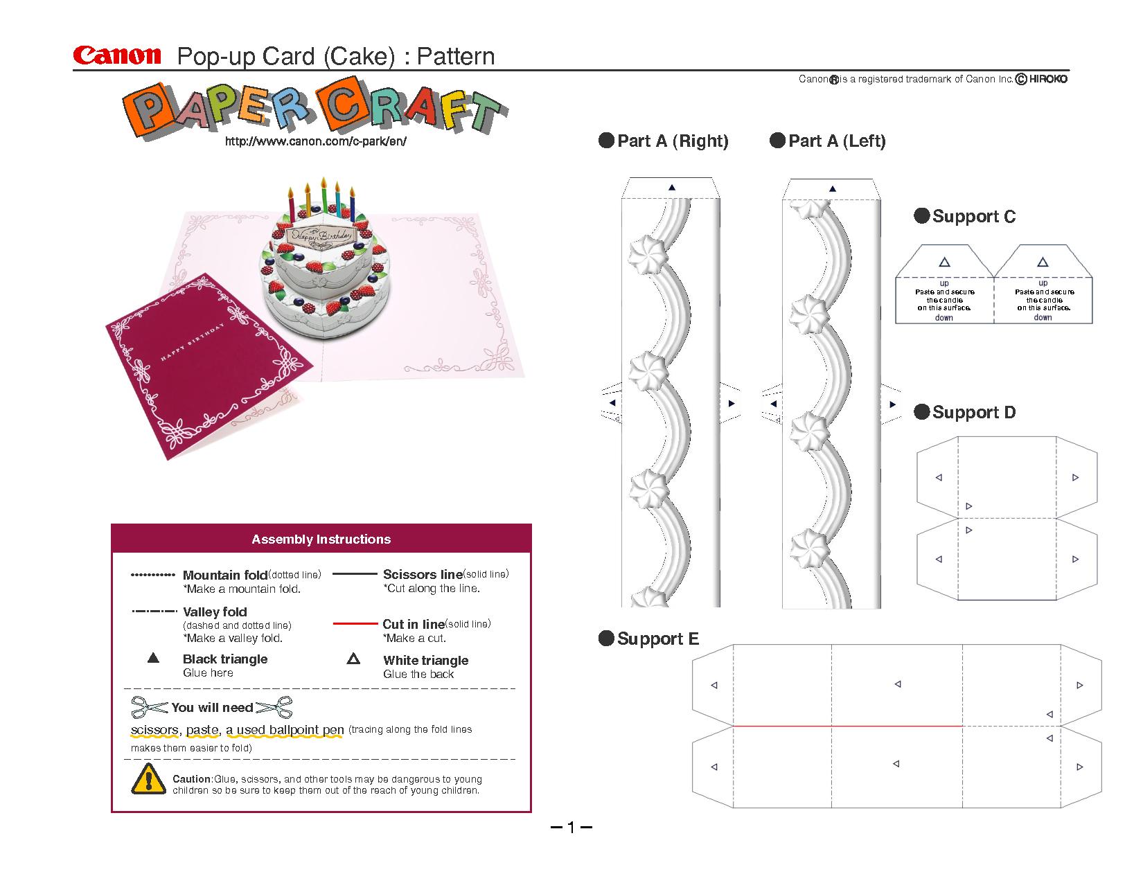 Birthday Cake Pop-Up Card Template   Cards   Pop Up Card Templates - Free Printable Pop Up Birthday Card Templates