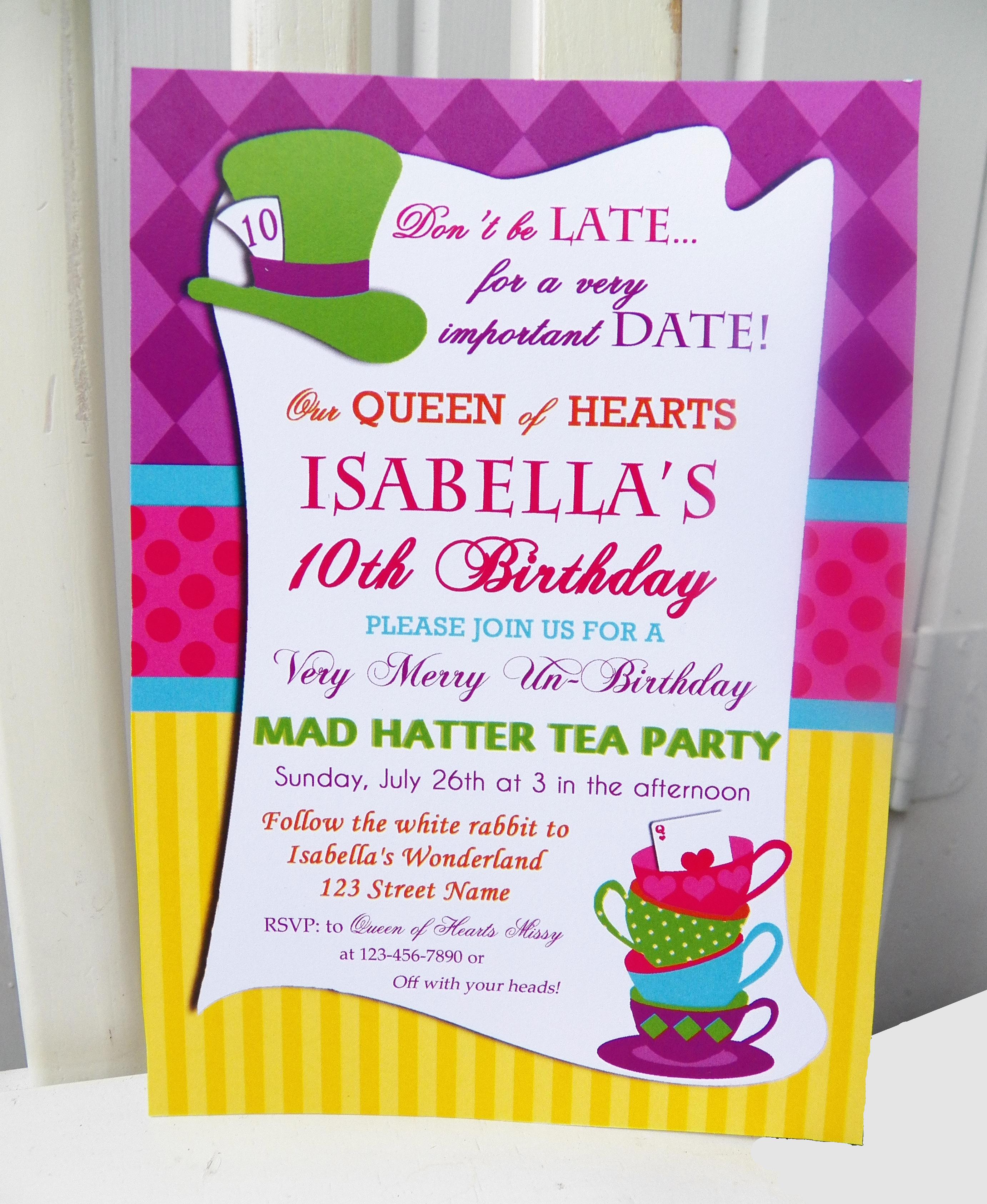 Birthday Invitation. Mad Hatter Tea Party Birthday Invitations - Mad Hatter Tea Party Invitations Free Printable
